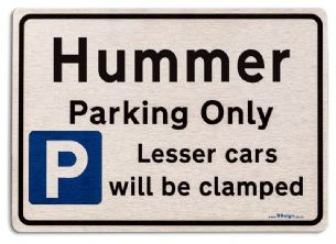 Gift for Hummer car owner | New Parking only Sign | Metal face Brushed Aluminium